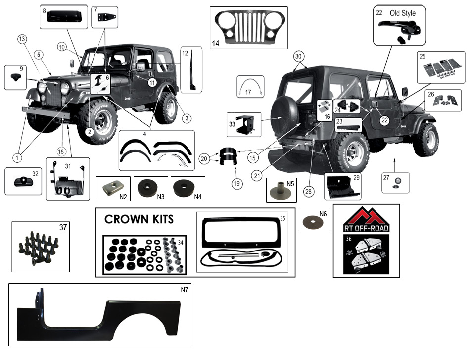 diagram exterior  u0026 interior jeep cj-7 1976  1986