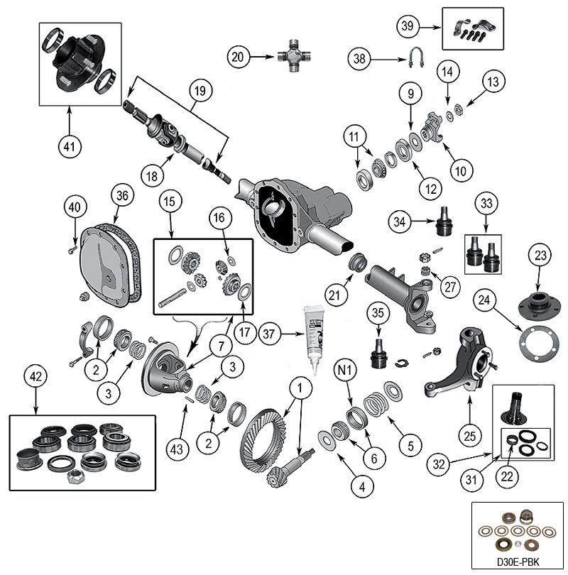 diagram axles jeep cj-7 1976  1986