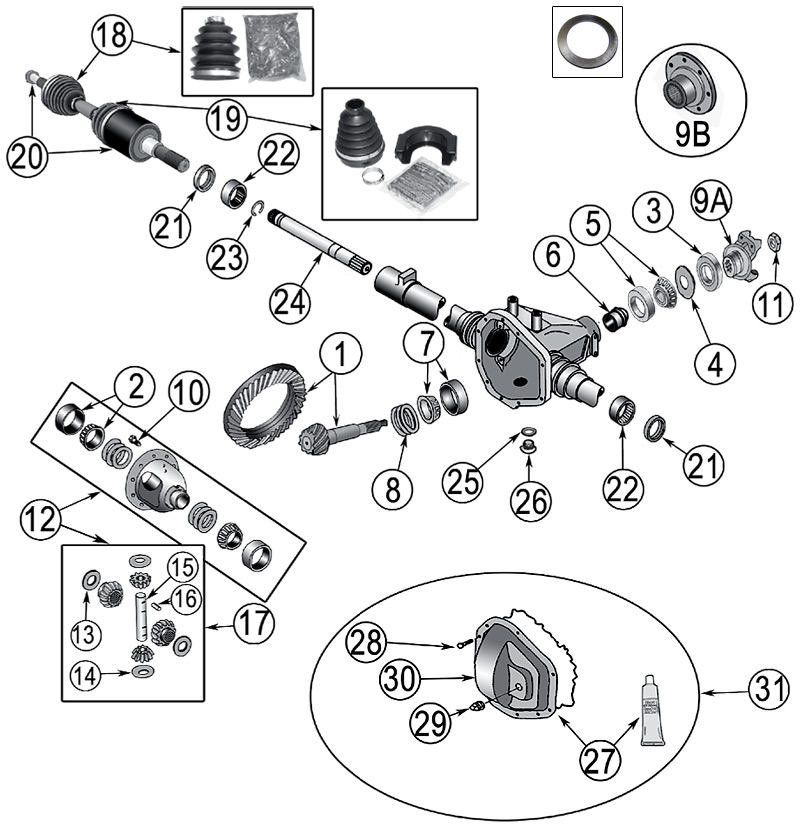 diagrama ejes jeep kj liberty 2002  2007
