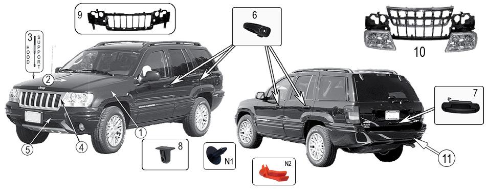 diagrama interior y exterior jeep wj  wg grand cherokee