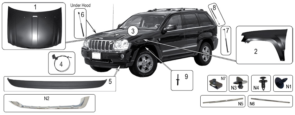technick sch ma exteri r a interi r jeep wk wh grand cherokee 2005 2010 crown rdr. Black Bedroom Furniture Sets. Home Design Ideas