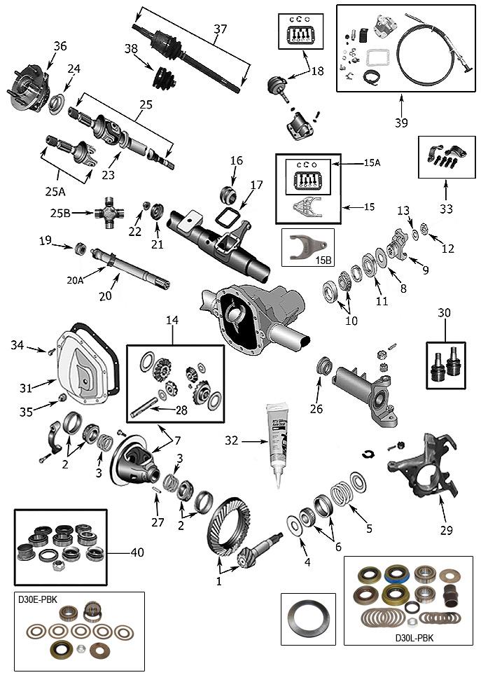 94 jeep cherokee front drivetrain diagram