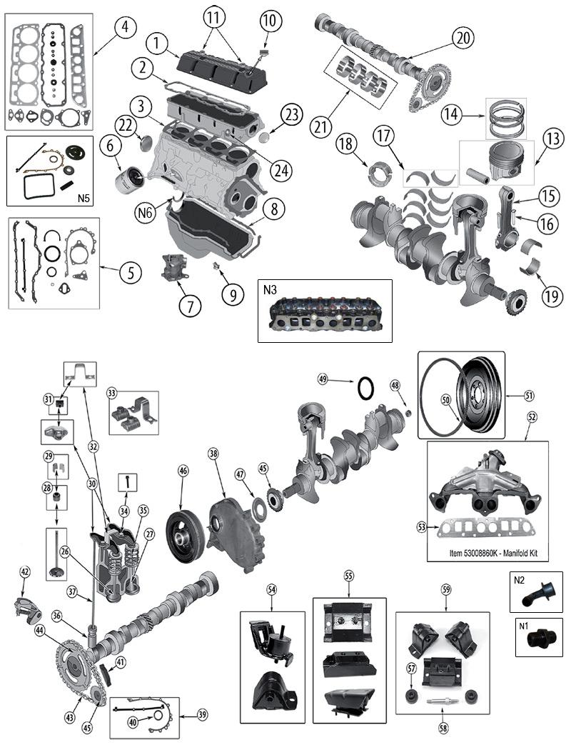 explosionszeichnung motor jeep yj wrangler 1986  1996