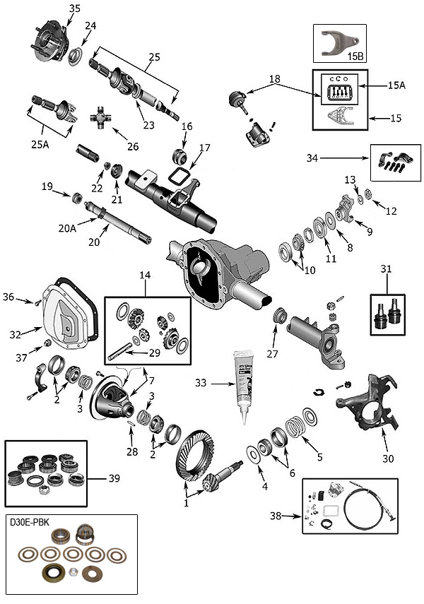 explosionszeichnung achsen jeep yj wrangler 1986  1996
